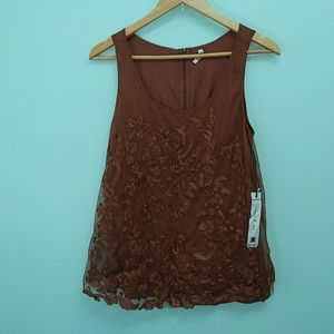 Willow and Clay Brown Lace Shirt
